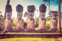 Rapa Nui, or Easter Island Moai. Honolulu, Hawaii - May 27, 2016: Rapa Nui, or Easter Island Moai on display at the Polynesian Cultural Center. Moai are Royalty Free Stock Photos