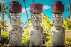 Rapa Nui, or Easter Island Moai. Honolulu, Hawaii - May 27, 2016: Rapa Nui, or Easter Island Moai on display at the Polynesian Cultural Center. Moai are Royalty Free Stock Photo