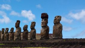 Beautiful Easter Island Moai looking to the sky 05. Rapa Nui Easter Island statues/ Moai with clouds on a sunny day with blue sky Royalty Free Stock Image