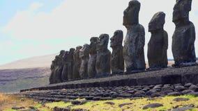 Rapa Nui Moai Statues of Easter Island. Rapa Nui Moai Statues of Chile, Easter Island stock video footage