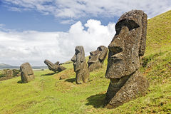 Rapa Nui National Park. Moais in Rapa Nui National Park on the slopes of Rano Raruku volcano on Easter Island, Chile stock photography
