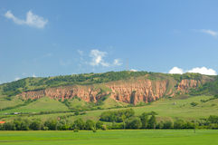 Rapa Rosie (Red Ravine). General view of Rapa Rosie (English - Red Ravine), geological natural reserve, located near Sebes, Alba county Romania royalty free stock photography