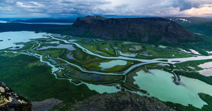 Rapa Valley. View over Rapa Valley from Skierfe in Sarek, Lappland, Sweden royalty free stock photography