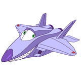 Rapace mignon de l'avion f-22 de bande dessinée Images stock