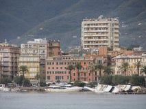 Rapallo Italien November/5/2018 - verhängnisvolles Ergebnis eines starken Sturms, deren in der Nacht vom 29. Oktober in Hafen auf stockfoto