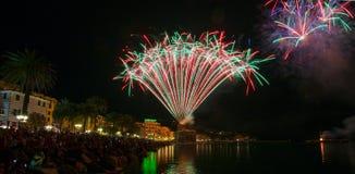 Fireworks in Rapallo, Genoa province, Ligurian riviera, Italy stock image