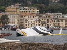 Rapallo Italy November/5/2018 - Mega yacht of the Berlusconi family, sunk in the harbor of Rapallo royalty free stock image