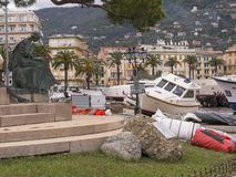 Rapallo Italy November/5/2018 - Disastrous outcome of a powerful storm that occurred on the night of October 29 in the harbor of stock image