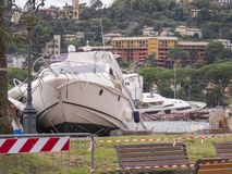Rapallo Italy November/5/2018 - Disastrous outcome of a powerful storm that occurred on the night of October 29 in the harbor of royalty free stock image