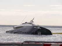 Rapallo Italy November/5/2018 Mega yacht of the Berlusconi family, sunk in the harbor of Rapallo stock images