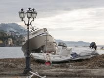 Rapallo Italy November/5/2018 - Disastrous outcome of a powerful storm that occurred on the night of October 29 in the harbor of stock images