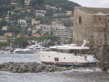 Rapallo Italy November/5/2018 - Disastrous outcome of a powerful storm that occurred on the night of October 29 in the harbor of stock photo