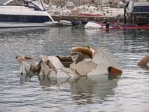 Rapallo Italy November/5/2018 - Disastrous outcome of a powerful storm that occurred on the night of October 29 in the harbor of stock photography