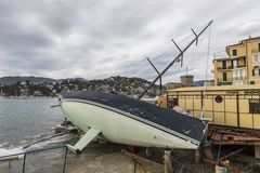Rapallo Italy November/5/2018 - Disastrous outcome of a powerful storm that occurred on the night of October 29 in the harbor of royalty free stock photos