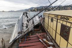 Rapallo Italy November/5/2018 - Disastrous outcome of a powerful storm that occurred on the night of October 29 in the harbor of royalty free stock images