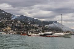 Rapallo Italy November/5/2018 - Disastrous outcome of a powerful storm that occurred on the night of October 29 in the harbor of stock photos