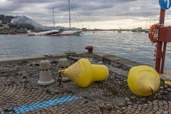 Rapallo Italy November/5/2018 - Disastrous outcome of a powerful storm that occurred on the night of October 29 in the harbor of royalty free stock photography
