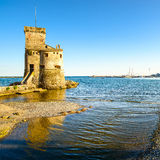 Rapallo, the medieval castle on the sea. Genoa, Ligury, Italy Royalty Free Stock Images