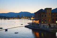 Rapallo seaside resorts at sunset. Rapallo area is included in the Parco Naturale Regionale di Portofino, Liguria, Italy Stock Images
