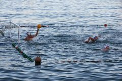 Rapallo - sept. 2011 de Italia, deportes del water polo Las puertas flotan en el acitivity del deporte del verano de la diversión Fotografía de archivo libre de regalías