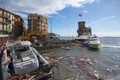 Rapallo storm - Ligurian sea stock images