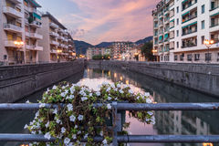 Rapallo at sunset Stock Photography