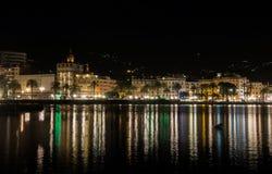 Rapallo vid natt Arkivfoton