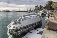Rapallo Włochy November/5/2018 - Katastrofalny wynik potężna burza nocy Październik 29 schronieniu który w na zdarzał się fotografia stock