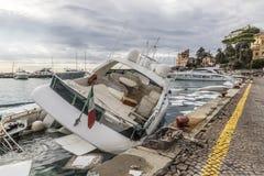 Rapallo Włochy November/5/2018 - Katastrofalny wynik potężna burza nocy Październik 29 schronieniu który w na zdarzał się zdjęcie stock