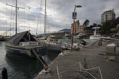 Rapallo Włochy November/5/2018 - Katastrofalny wynik potężna burza nocy Październik 29 schronieniu który w na zdarzał się obrazy royalty free