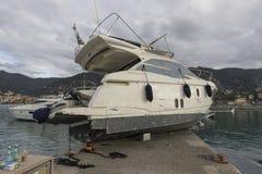 Rapallo Włochy November/5/2018 - Katastrofalny wynik potężna burza nocy Październik 29 schronieniu który w na zdarzał się zdjęcie royalty free