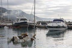 Rapallo Włochy November/5/2018 - Katastrofalny wynik potężna burza nocy Październik 29 schronieniu który w na zdarzał się obraz royalty free