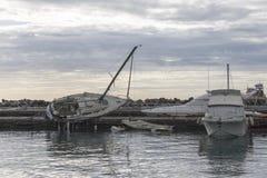 Rapallo Włochy November/5/2018 - Katastrofalny wynik potężna burza nocy Październik 29 schronieniu który w na zdarzał się obraz stock