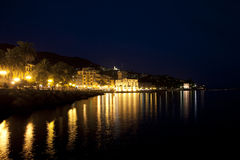 Rapallo waterfront at night Royalty Free Stock Photos