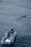Rapan łapacz z łodzią morze czarne Obraz Royalty Free