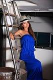 Menina bonita em um iate Fotografia de Stock Royalty Free
