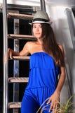 Menina bonita em um iate imagem de stock royalty free