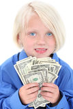 Rapariga bonita com punhado do dinheiro Imagens de Stock