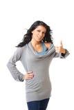 Rapariga bonita com um polegar acima do sinal Imagem de Stock Royalty Free