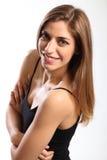 Rapariga bonita no sorriso encantador da veste preta Fotografia de Stock