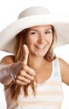Rapariga bonita que mostra o polegar acima do sinal Imagem de Stock Royalty Free