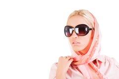Rapariga charming bonita no lenço Foto de Stock
