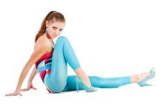 Rapariga Charming no azul no assoalho Imagem de Stock