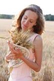 Rapariga com as orelhas maduras do trigo nas mãos Fotos de Stock