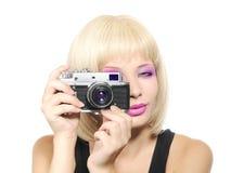 Rapariga com câmera Imagens de Stock Royalty Free