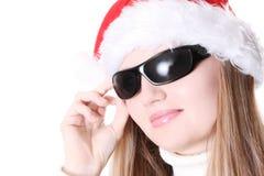 Rapariga com chapéu e vidros vermelhos Foto de Stock