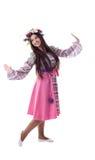 Rapariga com dança da festão no traje russian Foto de Stock Royalty Free