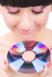 Rapariga com disco foto de stock