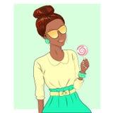Rapariga com doces ilustração stock