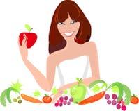 Rapariga com legumes frescos e frutos Fotos de Stock Royalty Free